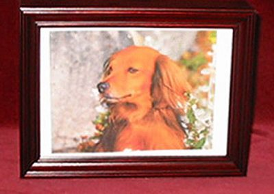 "Cherry Picture Frame Urn: 8"" x 10"" - $147 (Large & Medium pets) / 5"" x 7"" - $120 (Small pets)"