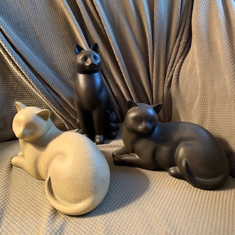 Resin Cat Urns (sitting & laying down) Available Colors: Off-white, Black or Brown: $95